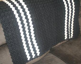 Vintage Handmade Black And White Afghan Throw, Handmade Vintage, Baby Blanket