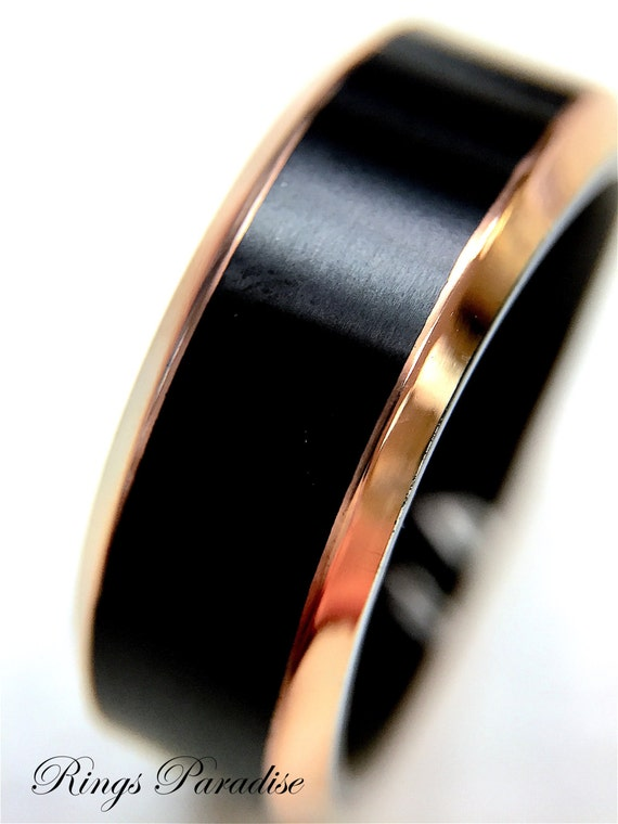 Black Titanium Ring Mens Wedding Band Rose Gold Edges