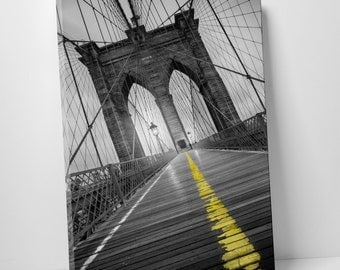New York City Brooklyn Bridge Skyline Pop by Moises Levy Gallery Wrapped Canvas Print