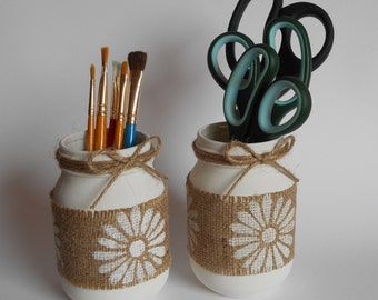 Rustic Daisy Jar - handy vase or storage jar