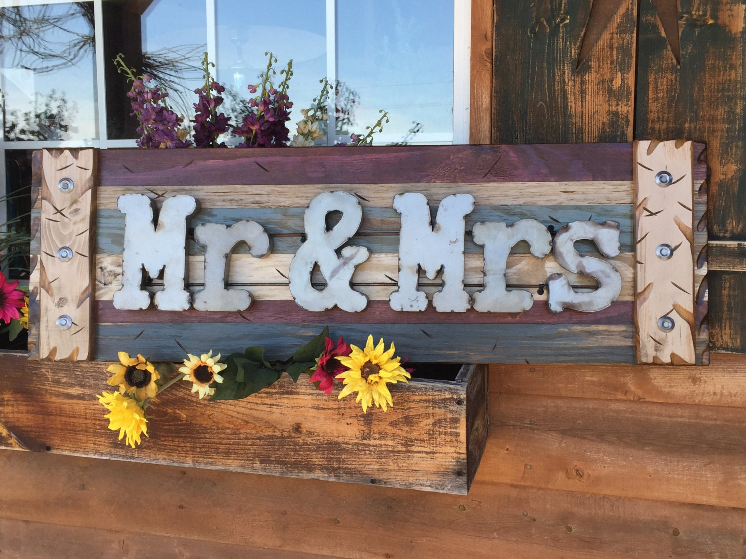 Navy Blue Metal Wall Art: MR & MRS Rustic Sign Reclaimed Shutter Distressed