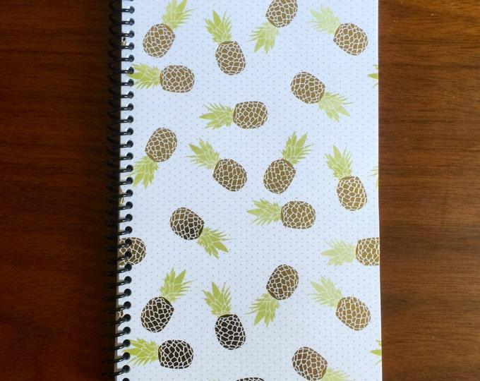 Gold Pineapple Notebook 5 x 8 Spiral Bound Gold Foil Design Paradise Gift Fruit Pattern Notebook Blank Paper Notebook Travel Memo LOGO FREE