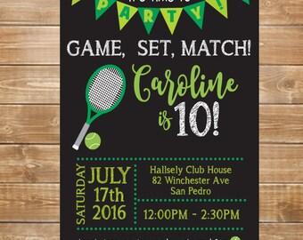 Tennis Birthday Party Invitation, Tennis Invite, Printable Tennis Court Party, DIY, Kids Birthday Tennis Lessons, Game, Set, Match,