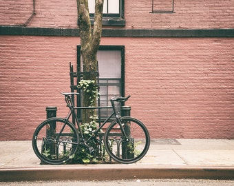 New York Print, Bicycle, Urban Art, New York Photography, Greenwich Village, West Village, New York Print, Black, Brick Red, Wall Art