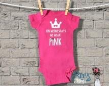 Funny, Custom, Mean Girls, On Wednesdays We Wear Pink Romper, creeper, infant, bodysuit, baby, onesie, custom, shirt