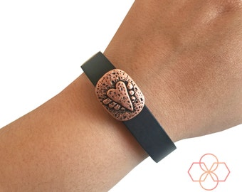 Charm to Accessorize Fitbit or Other Activity Trackers - The WINGED HEART Engraved Copper Charm to Dress Up Your Favorite Fitness Tracker