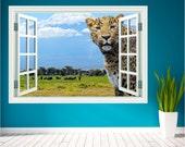 Leopard Safari Animal Landscape Window Wall Art Sticker Decal Mural 3d Transfer WAPW102N1