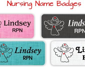 Name Badges with Magnetic Fastener, Nursing Name Tags, Nurse Name Badge, Medical Name Badge, Nursing ID Badge, Magnetic Name Badges - ANGEL1