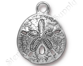 TierraCast Sand Dollar Charm, Antique Silver-Plated Double-Sided Wholesale Sand Dollar Charm, USA Seller, Fast Shipping (T130)
