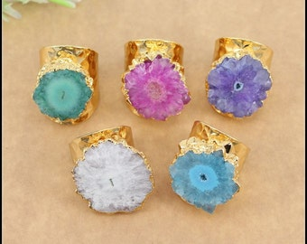 5pcs Fashion Natural Druzy Agate Ring,Gold plated Druzy Gemstone Ring in Mix color Jewelry findings