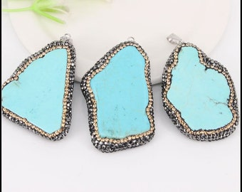 5pcs Natural Druzy Slab Blue Turquoise Pendants,with Crystal Rhinestone Pave Druzy Turquoise Pendants,For Jewelry Making