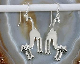 Cats earrings 925 Sterling silver--4909