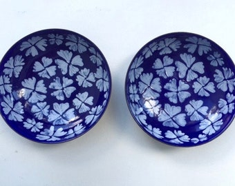 Pair of Cute Cobalt Enamelware bowls