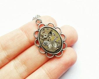 Watch Mechanism Necklace.  Steampunk Jewellery. Steampunk Necklace. Silver Necklace. Silver Jewelry. Watch Movement. Broken Watch Parts.