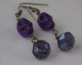 Skull Earrings Purple Howlite Skull Earrings with Purple Rondell Crystals  E26