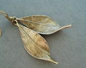 Bronze Leaf Earrings, Nature Inspired Jewelry,  Leaf Long Earrings, Fall Jewelry, Vintage Style Bronze Earrings, Boho Chic Jewelry Gift Idea