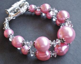 Multi Strand Pearl Bracelet, Pink Wedding Jewelry, Chunky Bracelet, Statement Jewelry, Pearl Bridal Bracelet, Pink Bracelet Gift For Her