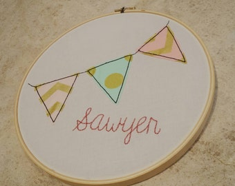 Custom pennant flag baby name embroidery hoop nursery decoration