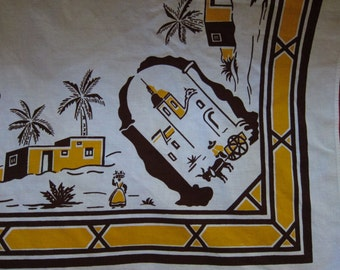 """1950s South of the Border Table Cloth/ Novelty Vintage Luncheon Cloth/ 32"""" x 35"""" Table Cloth"""