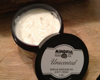 Unscented Body Cream with Shea Butter and Avocado Oil