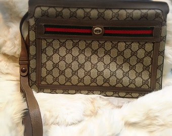 Gucci The Accessory Collection 1980 Tan/Brown/Green/Red Cross Body/Shoulder/Messenger Bag