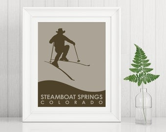Steamboat Springs Art Print ~ Billy the Kidd Skiing ~ Steamboat poster ~ Gift for skier ~ Ski art ~ Skiing art print ~ Steamboat Coloado
