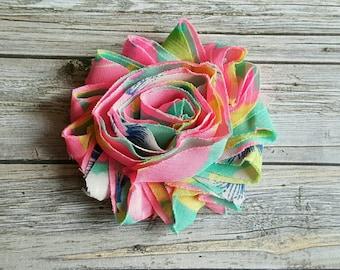 Neon Colors Shabby Flower Hair Clip