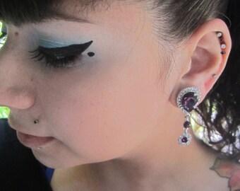 "Wedding EAR TUNNEL PLUG Earrings pick gauge size color diamond rhinestones 2g, 0g, 00g, 7/16"", 1/2"", 9/16"", 5/8"" aka 6, 8, 10, 12, 14, 16mm"