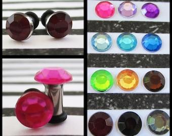 Crystal Rhinestone on a Stainless Steel Tunnel diamond EAR PLUGS earrings pick gauge size color 8g, 6g, 4g, 2g aka 3, 4mm, 5mm, 6mm
