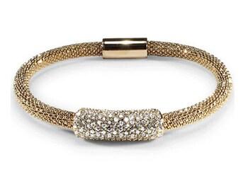 925 Sterling Silver Gilded Magnetic Cz Bead Bracelet