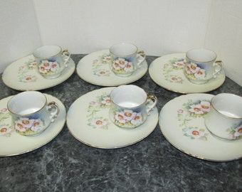 Vintage Lefton China Magnolia Tea Set / 12 Pieces / Tea Set for 6 / Hand painted / Floral / KF2599