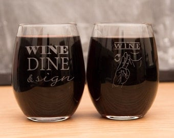 Wine Dine & Sign - Pair of American Sign Language Wine Glasses