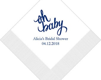 Set of 100 Oh Baby Napkins - Paper Napkin - Custom Napkins - Personalized Napkins - Cocktail - Luncheon - Bridal Shower - Baby Shower
