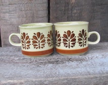Set of 2 Colditz Porzellan Coffee Cups made in East Germany; Mid Century Coffee Cups; German Vintage Pottery; Beige & Brown Espresso Cups