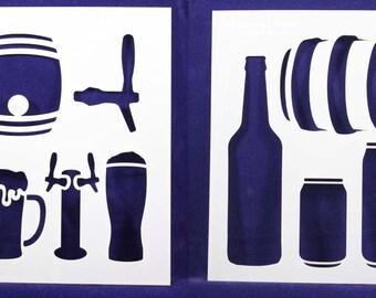 """2 Piece Set Beer Stencils  8"""" x 10"""" -  14 Mil Mylar"""