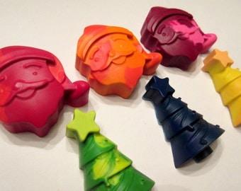 Set of 6 Colorful Christmas Crayons