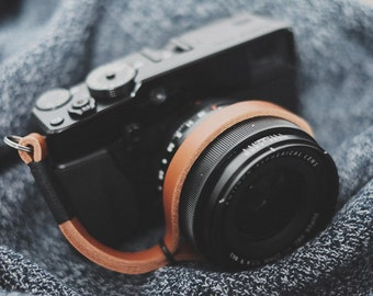 Leather Camera Wrist Strap, Black on Tan Leather camera strap, camera strap, leather wrist strap, tan camera strap, thin wrist strap
