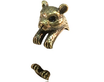 Hamster Ring- Antiqued Brass Toned - Adjustable
