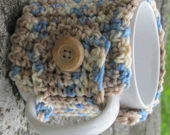 Tan and Blue Crochet Mug Cozy Ready to Ship