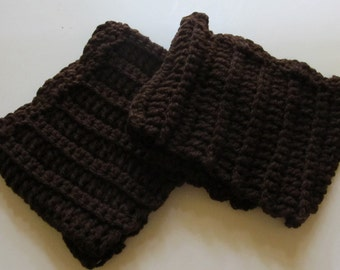 Crochet Boot Cuffs With Scallops in Brown Ready to Ship