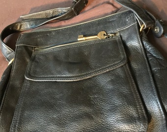 Vintage Fossil Bkack Leather Shoulder Bag Purse
