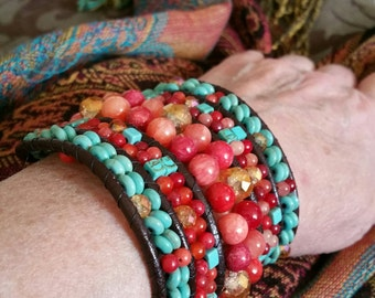 Beaded Leather cuff, 5 rows.
