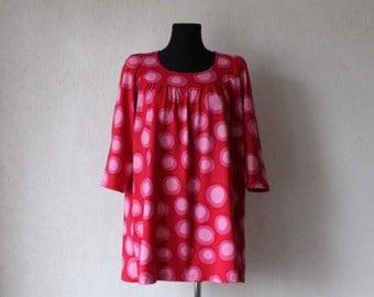 MARIMEKKO Dress Pink Cotton Tunic Polka Big Dot Shirt 3/4 Sleeve Large Size