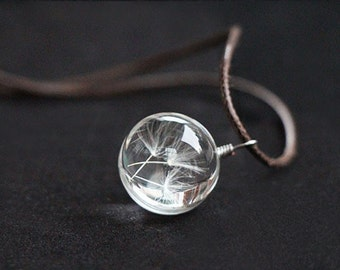 Glass globe necklace flower (1051)