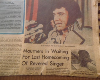 Original 1977 Memphis Press News Paper of the Dealth of Elvis Presley