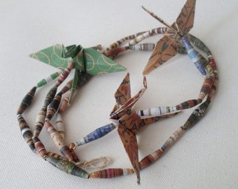 Upcycled Origami Crane and Wrapped Magazine Bead Wall Hang