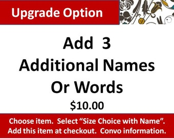 Upgrade Option, Add 3 Additional Names or Words