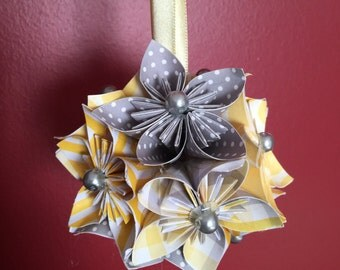 "Handmade ""Yellow/Gray Striped"" Kusudama Origami Ornament"