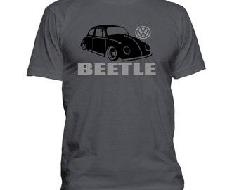 VW Classic Beetle. Text. Car T-shirt. Premium quality. Ringspun soft.
