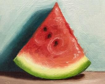 Watermelon Original Oil Painting still life by Jane Palmer